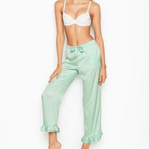 c06c35c7266 NEW VS SATIN RUFFLE SLEEP PANTS Mint FJ4. NWT. Victoria s Secret